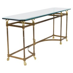Hollywood Regency Brass and Glass Console Table