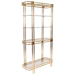 1970s American Hollywood Regency Brass and Glass Shelving Unit