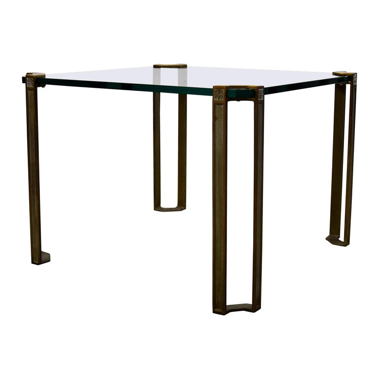 Hollywood Regency Brass and Glass Side Table For Sale