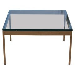 Modern Brass and Glass Square Coffee Table by Nicos Zographos