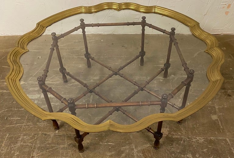 Hollywood Regency Brass and Glass Tray Coffee Table For Sale 4