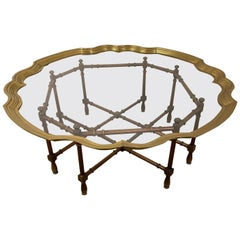 Hollywood Regency Brass and Glass Tray Coffee Table