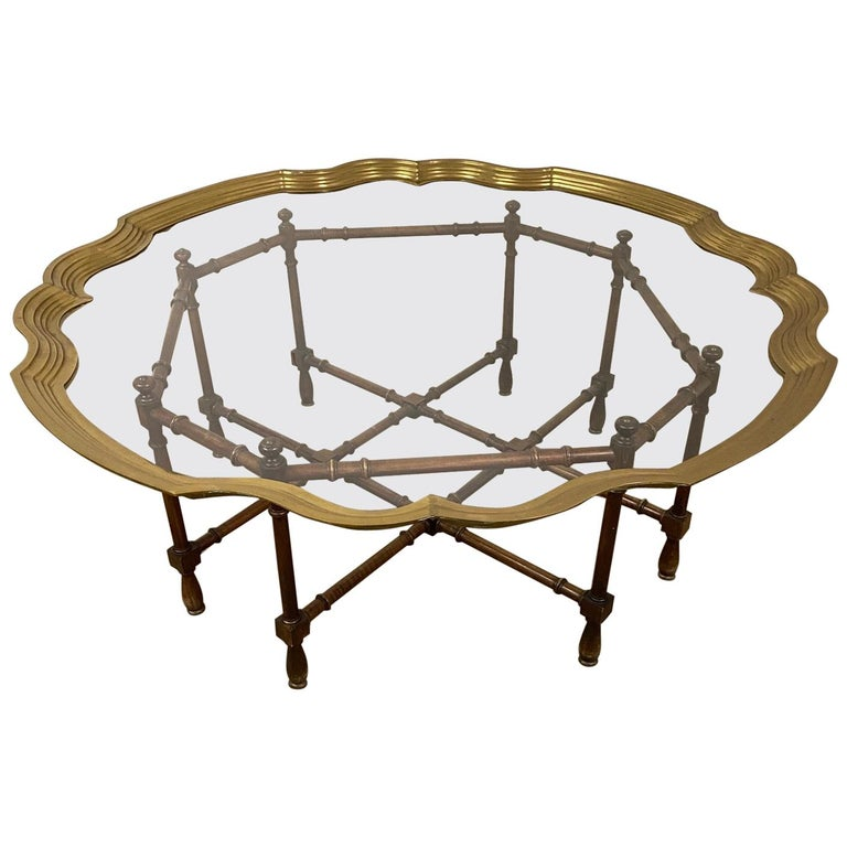 Hollywood Regency Brass and Glass Tray Coffee Table For Sale