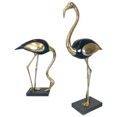 Hollywood Regency Brass and Lacquer, Life-Size Flamingo Statues