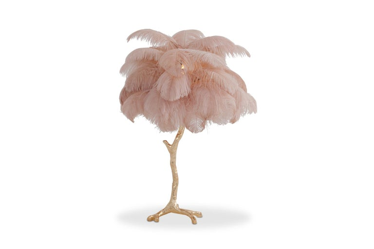 Contemporary Hollywood Regency Brass and Pink Feather Lamp For Sale