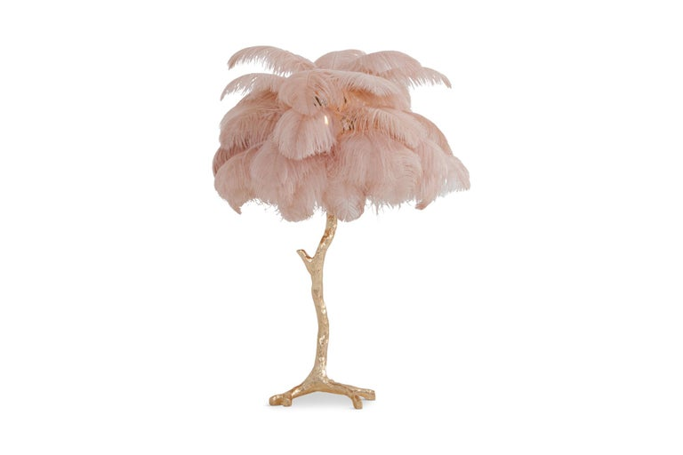 Hollywood Regency Brass and Pink Feather Lamp For Sale 2
