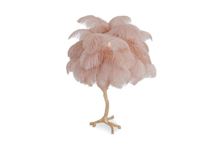 Hollywood Regency Brass and Pink Feather Lamp For Sale 3