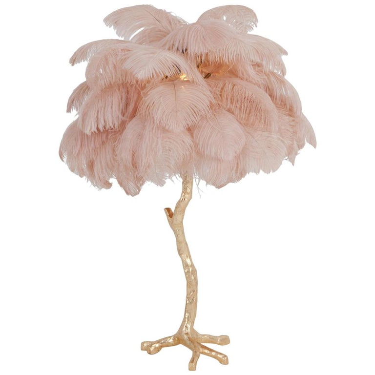 Hollywood Regency Brass and Pink Feather Lamp For Sale