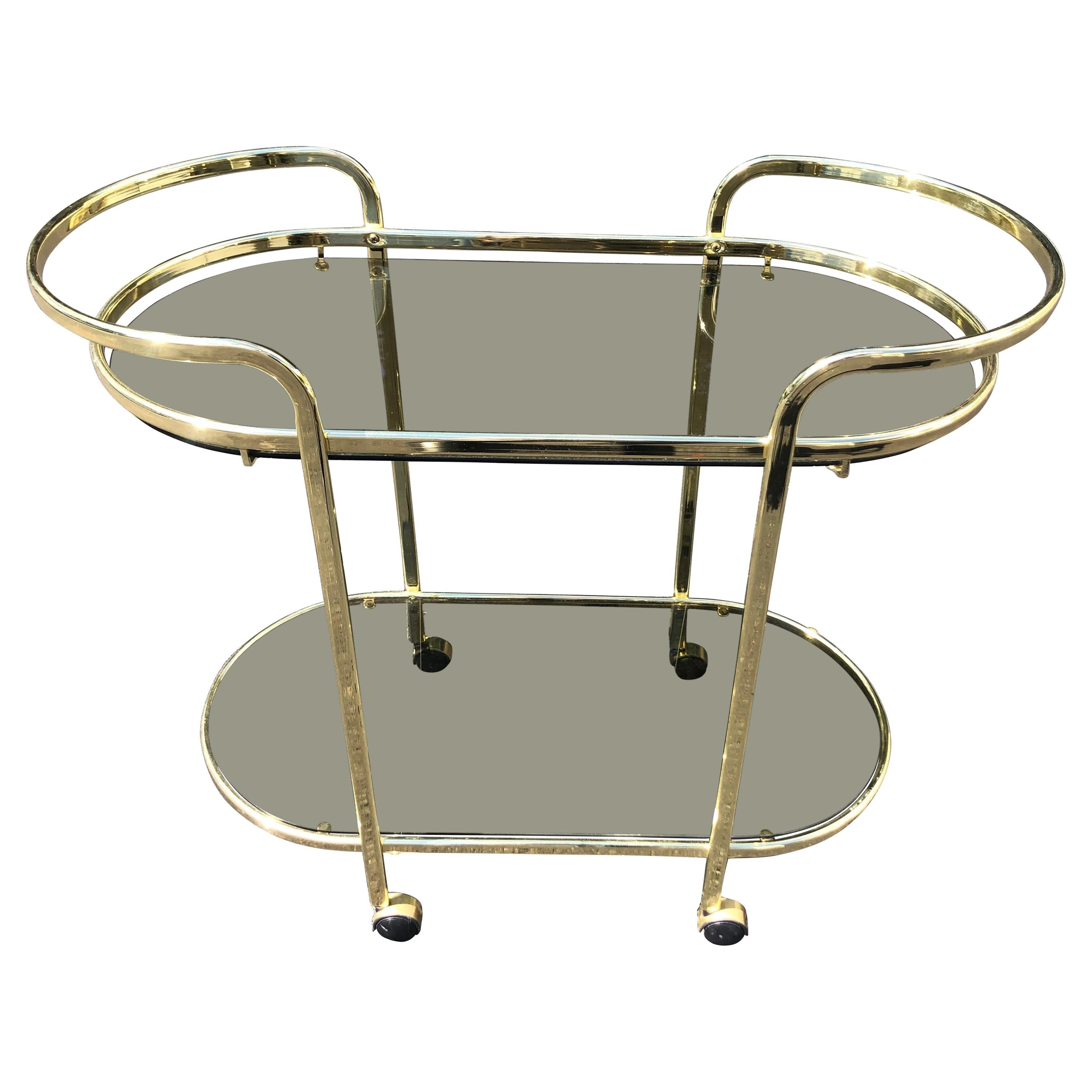 Hollywood Regency Brass and Smoked Glass Bar Cart
