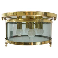 Hollywood Regency Brass and Smoked Glass Ceilin Light, by Schröder & Co., 1970s