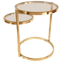 Hollywood Regency Brass and Smoked Glass Swivel Side Table by DIA, 1970s