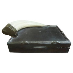 Hollywood Regency Brass Box with Faux Ivory Horn