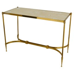 Hollywood Regency Brass Coffee Table with Mirrored Top