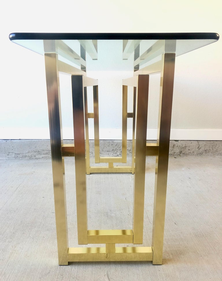 Hollywood Regency Brass Console Table For Sale 5
