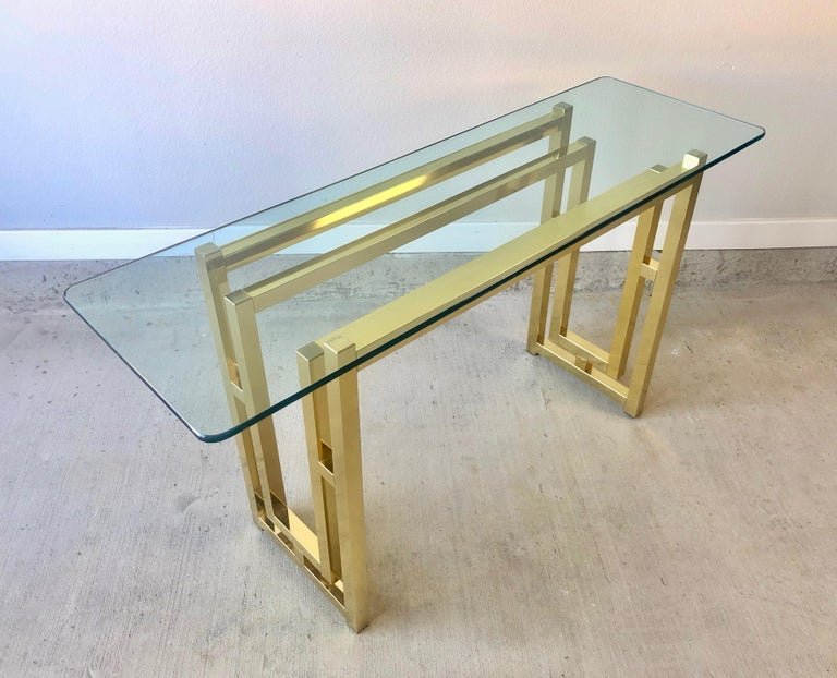Hollywood Regency Brass Console Table For Sale 6