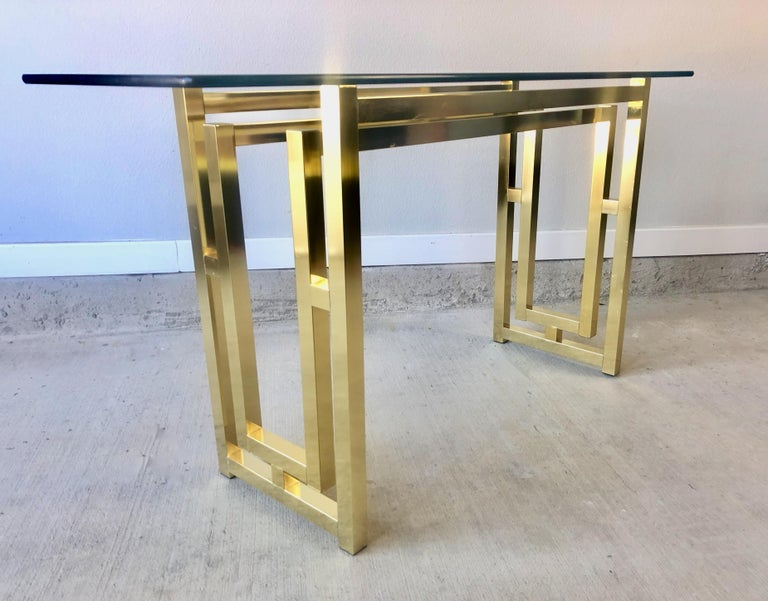 Hollywood Regency Brass Console Table For Sale 7