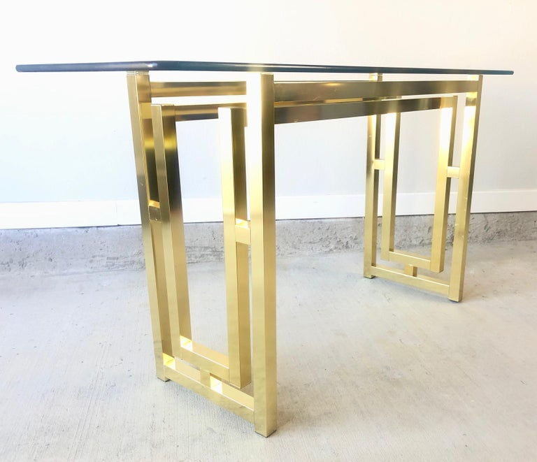 Hollywood Regency Brass Console Table For Sale 8