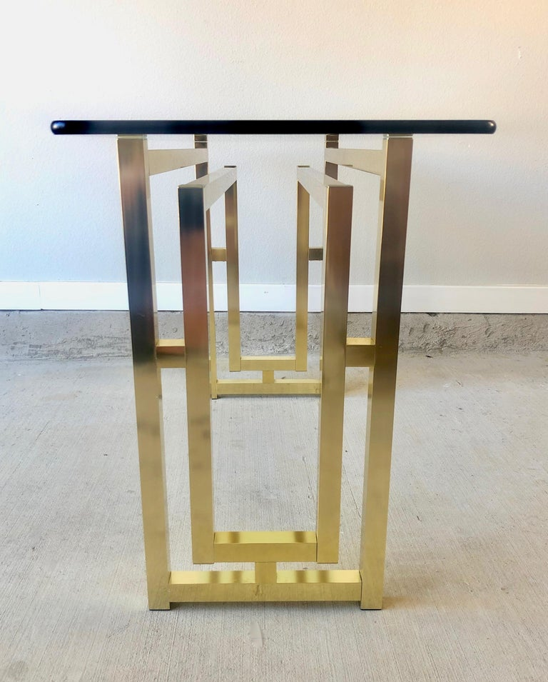 North American Hollywood Regency Brass Console Table For Sale