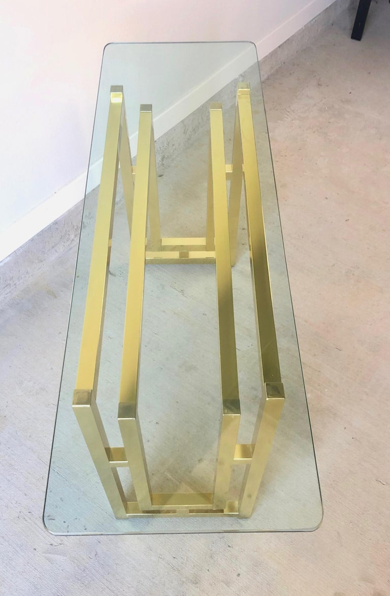 Hollywood Regency Brass Console Table In Good Condition For Sale In Laguna Hills, CA