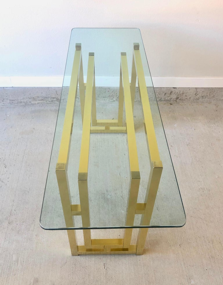 Hollywood Regency Brass Console Table For Sale 1