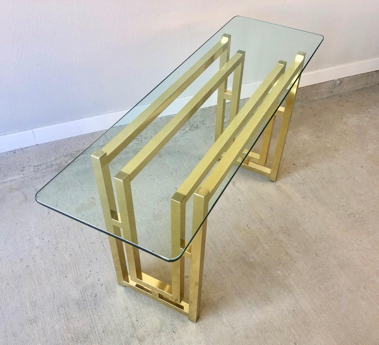 Hollywood Regency Brass Console Table For Sale 4