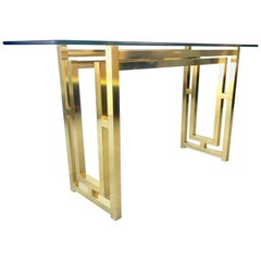 Hollywood Regency Brass Console Table