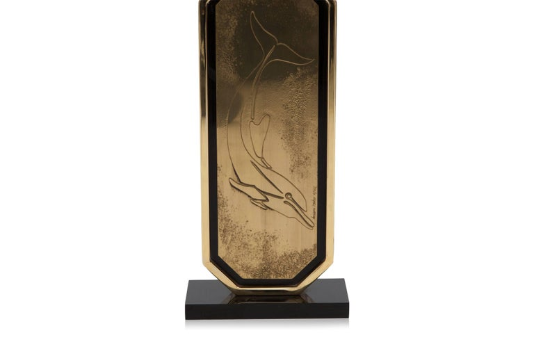 Belgian Hollywood Regency Brass Etched Lamps by Maho For Sale
