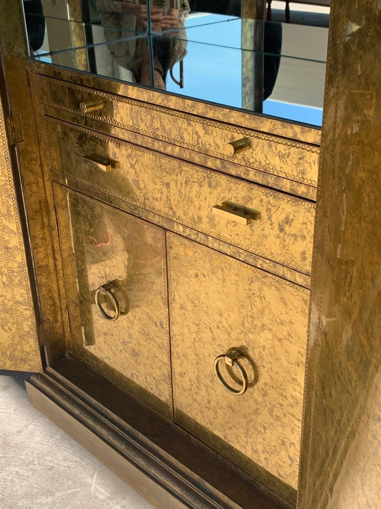 Hollywood Regency Brass Faces Dry Bar with Mirrored Interior 7