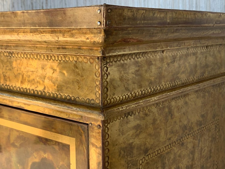 Hollywood Regency Brass Faces Dry Bar with Mirrored Interior 9