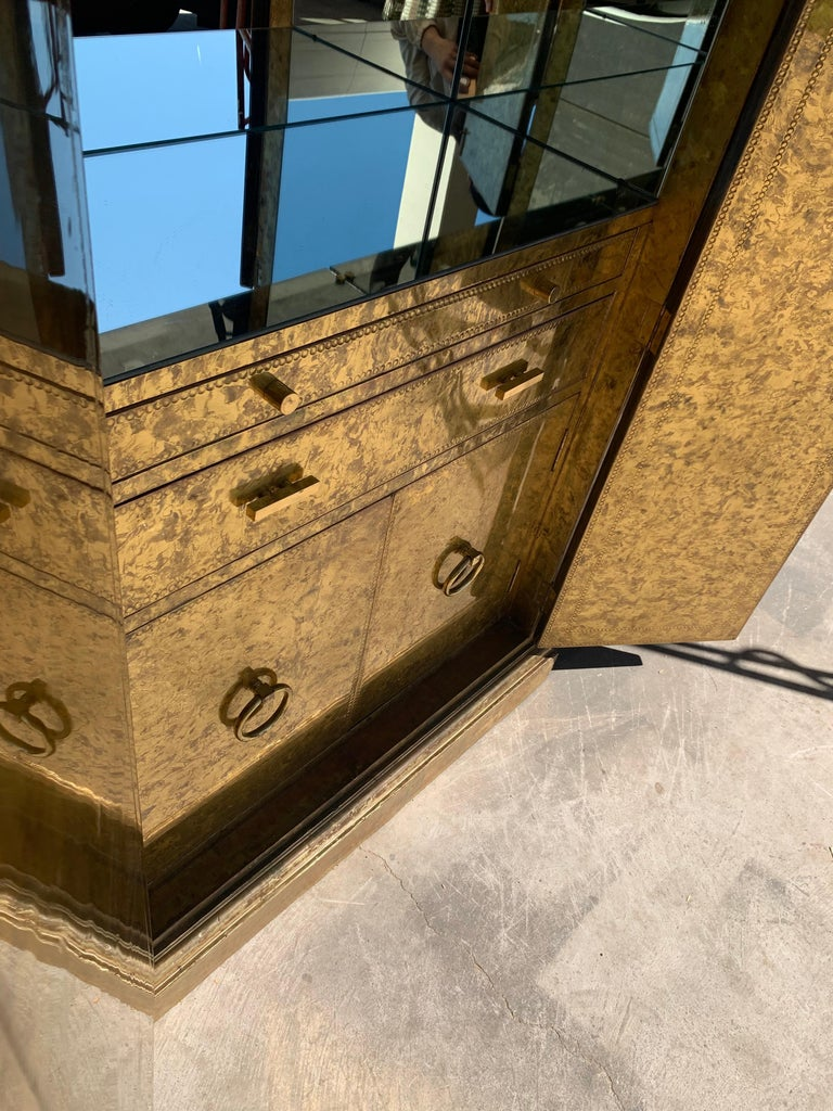 Hollywood Regency Brass Faces Dry Bar with Mirrored Interior 10