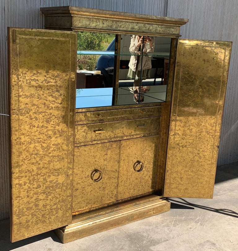 European Hollywood Regency Brass Faces Dry Bar with Mirrored Interior