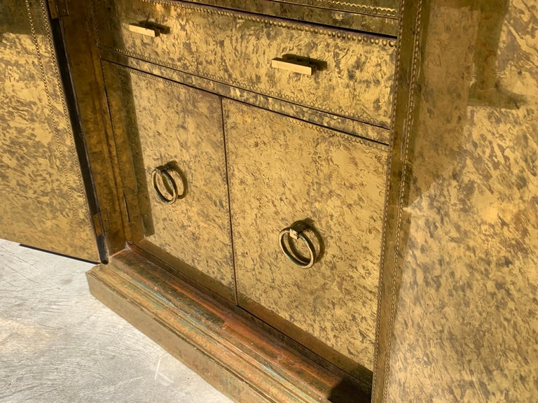 Hollywood Regency Brass Faces Dry Bar with Mirrored Interior 2