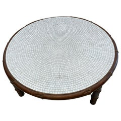 Hollywood Regency Brass Faux Bamboo Coffee Table with Mosaic Glass Top