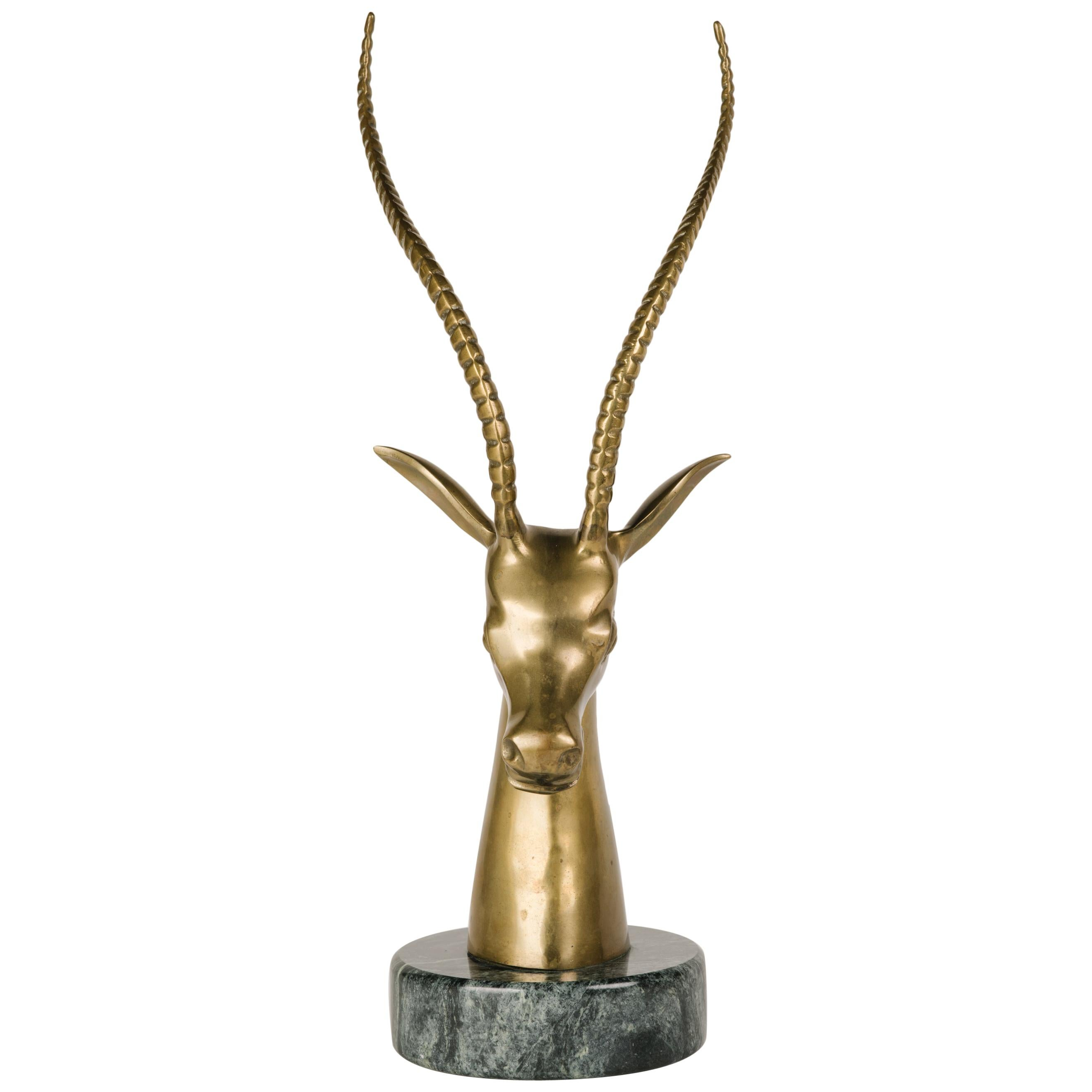 Hollywood Regency Brass Gazelle Sculpture with Exotic Marble Base, c. 1970's