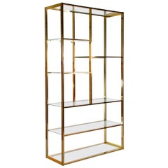 Hollywood Regency Brass and Glass Wall Unit or Shelving Unit after Milo Baughman