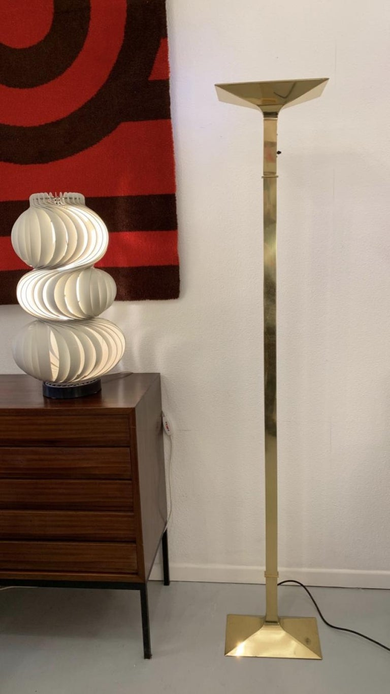 Elegant modernist brass halogen floor lamp, Italy, circa 1980