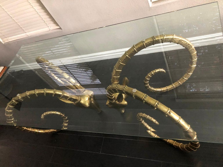Hollywood Regency Brass Ibex Rams Head Dining Table Attributed to Alain Chervet In Good Condition For Sale In Las Vegas, NV