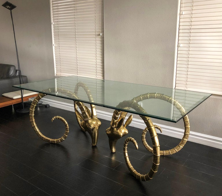 Hollywood Regency Brass Ibex Rams Head Dining Table Attributed to Alain Chervet For Sale 2