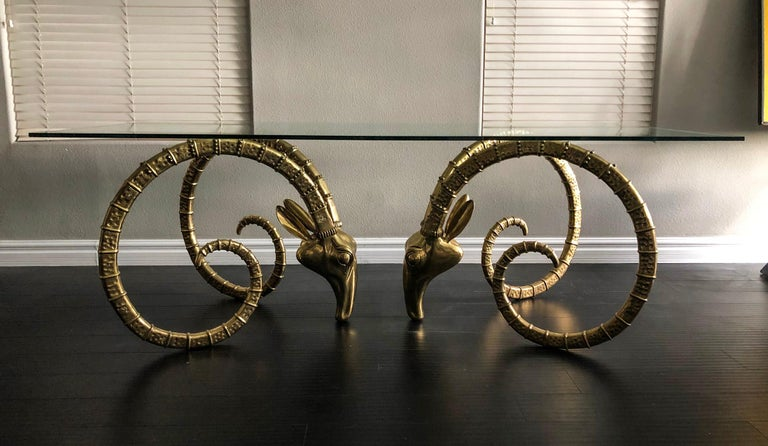 Hollywood Regency Brass Ibex Rams Head Dining Table Attributed to Alain Chervet For Sale 4