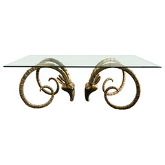 Hollywood Regency Brass Ibex Rams Head Dining Table Attributed to Alain Chervet