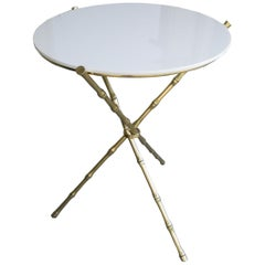 Hollywood Regency Brass / Milk Glass Tripod Side Table, Manner of Maison Baguès