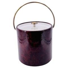Hollywood Regency Brass & Naugahyde Ice Bucket