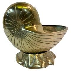 Hollywood Regency Brass Nautilus Seashell Planter