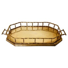 Hollywood Regency Brass Octagonal Faux Bamboo Serving Tray