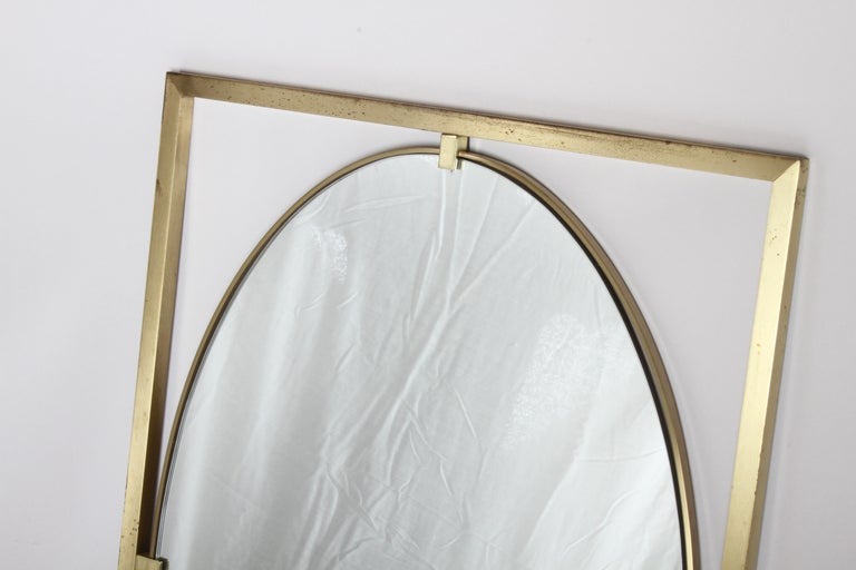 Mid-Century Modern Hollywood Regency Brass Oval Mirror by John Widdicomb For Sale
