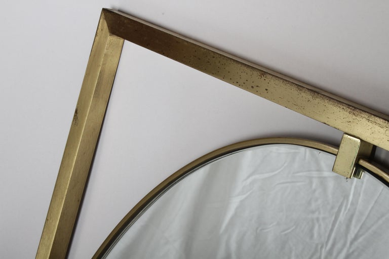 Hollywood Regency Brass Oval Mirror by John Widdicomb In Good Condition For Sale In St. Louis, MO
