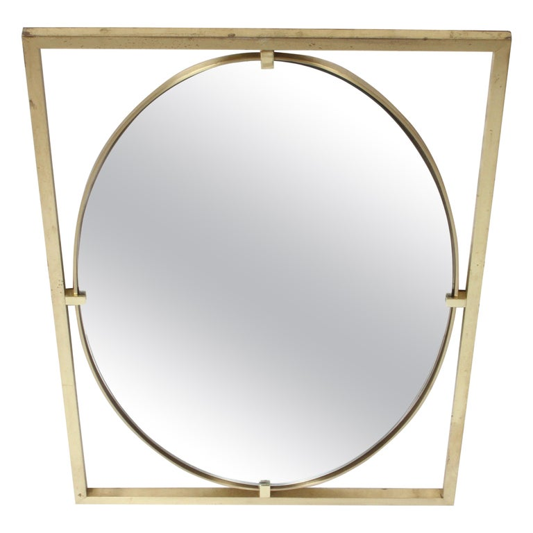 Hollywood Regency Brass Oval Mirror by John Widdicomb For Sale