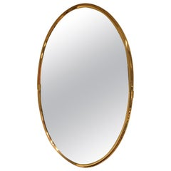Hollywood Regency Brass Oval Mirror