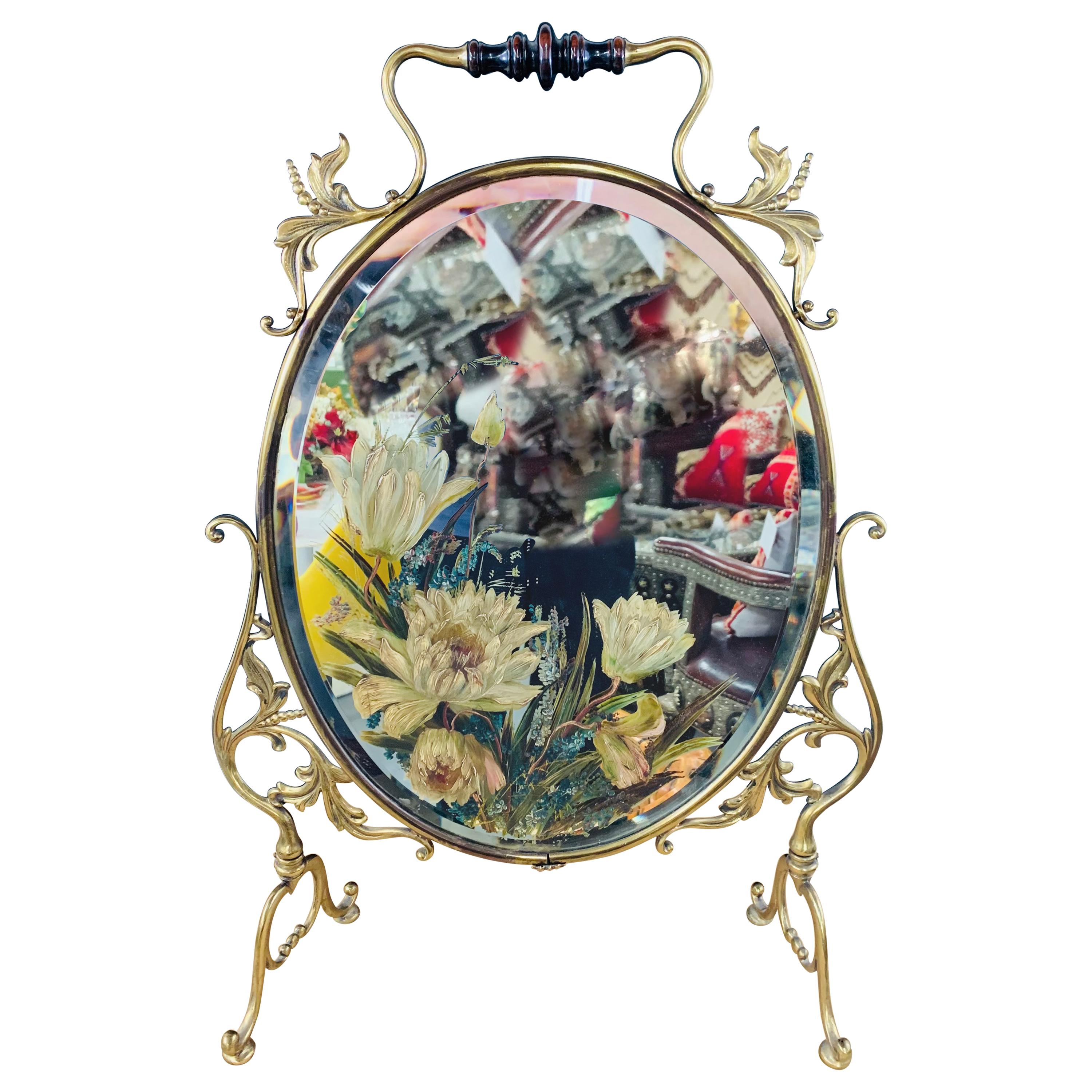 Hollywood Regency Brass Oval Table or Floor Mirror with Floral Etching