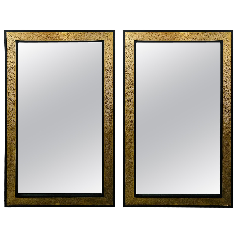 Hollywood Regency Brass over Ebonized Wood Filigree Pier or Wall Mirror, a Pair